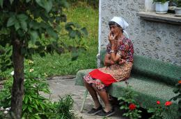 time to get rest, local woman from North Balkan Mountain region, Bulgaria