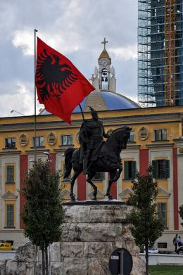 Skanderbeg statue national hero of the Albanians in Skanderbeg square of Tirana, Albania